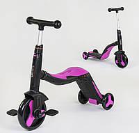 Cамокат-велобег-велосипед 3 в 1 JT 70708, цвет розовый, свет, 8 мелодий, колёса PU
