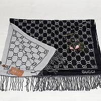 Женский шарф Gucci (Premium-class) черно-белый