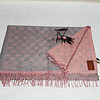 Женский шарф Gucci (Premium-class) серо-розовый