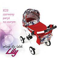 302 Кукольная коляска LILY TM Adbor (К23, красный, ералаш на сером)