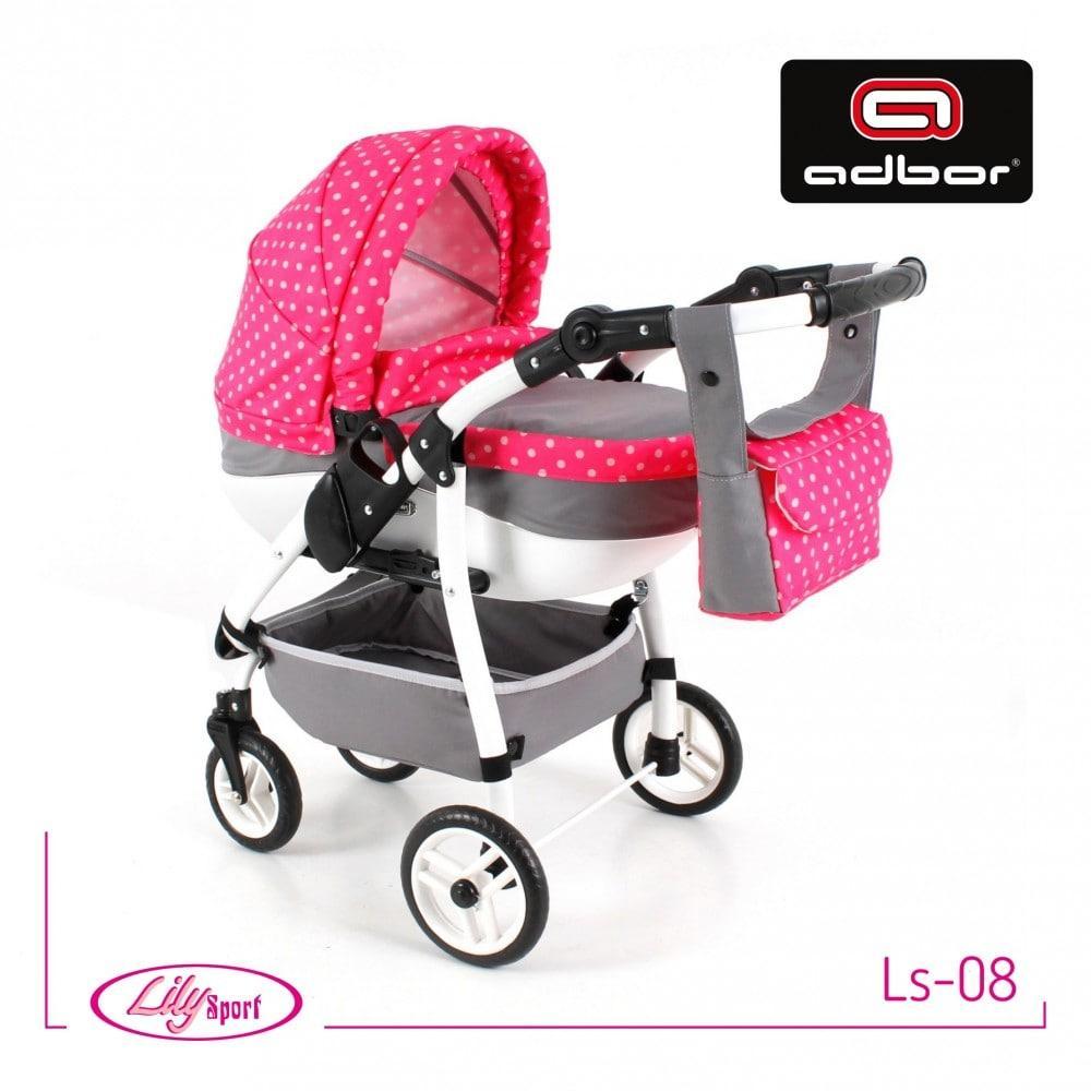 303 Лялькова коляска Lily SPORT TM Adbor (Ls-08, сірий, горошок на рожевому) (TORG3033414)