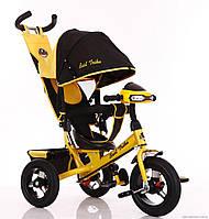 Велосипед детский трехколесный, надувные колеса+фара Бест Трайк 6588B желтый, Best Trike