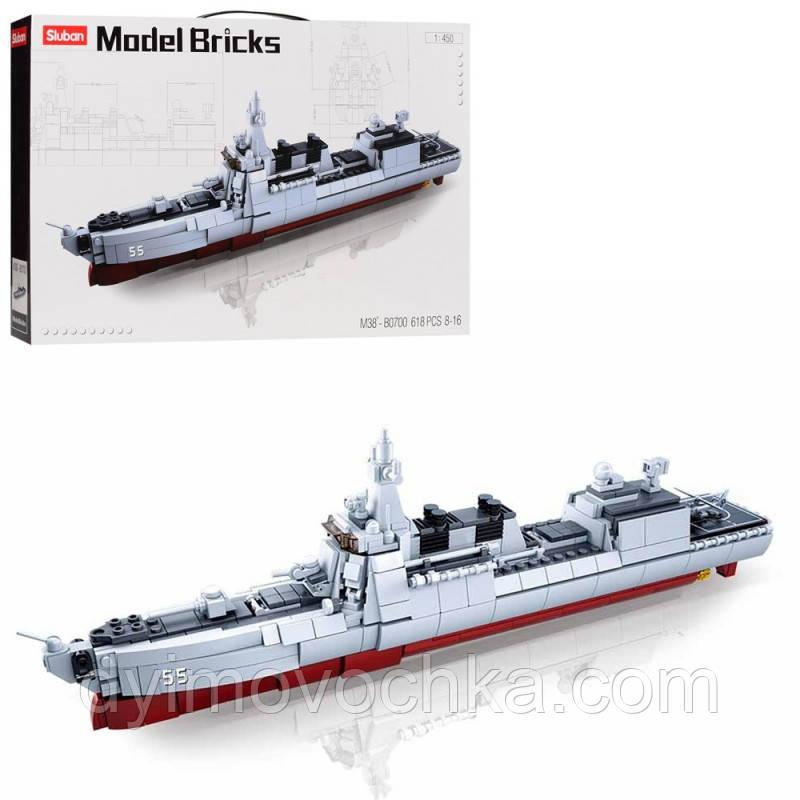 Конструктор SLUBAN M38-B0700 военный корабль, 1:450,самолет, 618 деталей