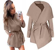 Пальто женское  полупальто на запах модное