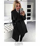 Пальто женское полупальто на запах модное, фото 4