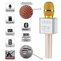 Беспроводной Микрофон Q7 РОЗОВОЕ-ЗОЛОТО Блютуз Караоке и динамик Bluetooth
