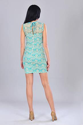 Стильное молодежное гипюровое изящное короткое платье с красивым бантиком и молнией подвеской на спинке, фото 2