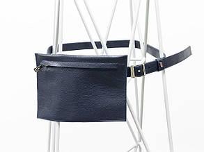 Наша новинка - кожаная сумка на пояс в синей коже флотар. Сумка из кожи от производителя Джино Фиджини, С-03