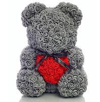 40 см Серый Мишка из роз  в КОРОБКЕ