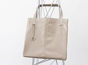 Наша новинка - кожаная сумка шоппер в бежевом цвете от производителя Джино Фиджини, С-01-02