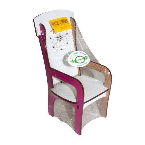 Кукольный стул деревянный, с подлокотником (бело-розовый)