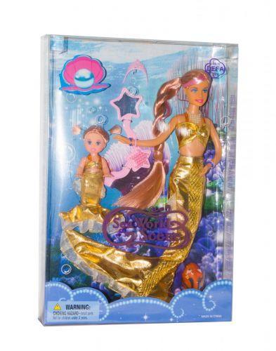 Кукла-русалочка, меняет цвет волос (золотая) 21011