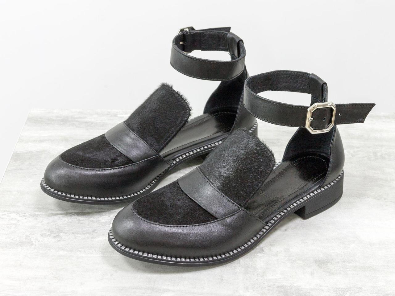 Красивые и удобные женские Туфли из натуральной кожи черного цвета и вставками из меха пони, на невысоком каблуке, Весенняя коллекция от Gino Figini,