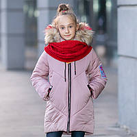 """Зимняя куртка для девочки """"Эмми"""" с вязаным хомутом."""