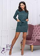 Зеленое платье с длинным рукавом батал 50-52