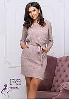 Ангоровое платье пудрового цвета