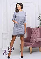 Серое трикотажное платье под пояс, фото 1