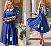 Элегантное платье, с расклешенной юбкой, в комплекте пояс рукав три четверт / 4 цвета 410-159, фото 3