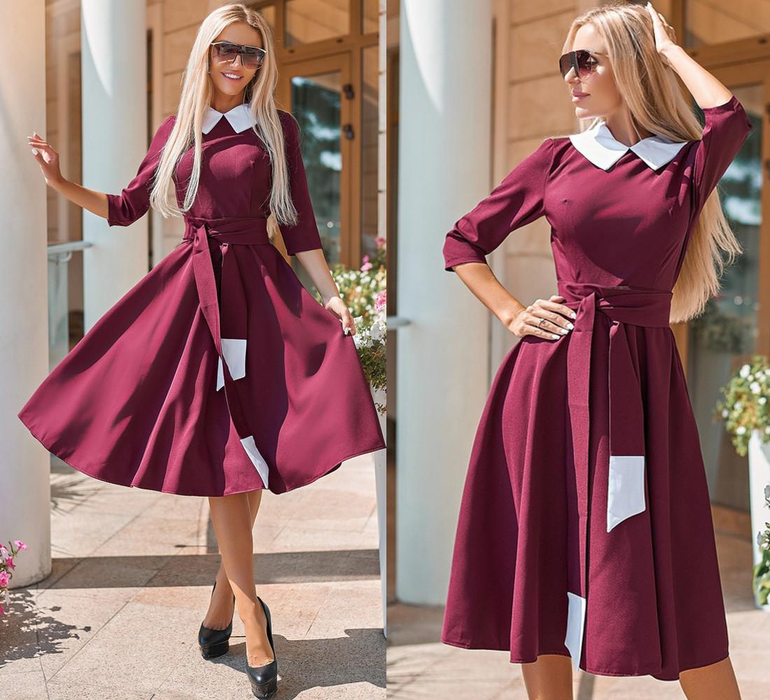 Элегантное платье, с расклешенной юбкой, в комплекте пояс рукав три четверт / 4 цвета 410-159