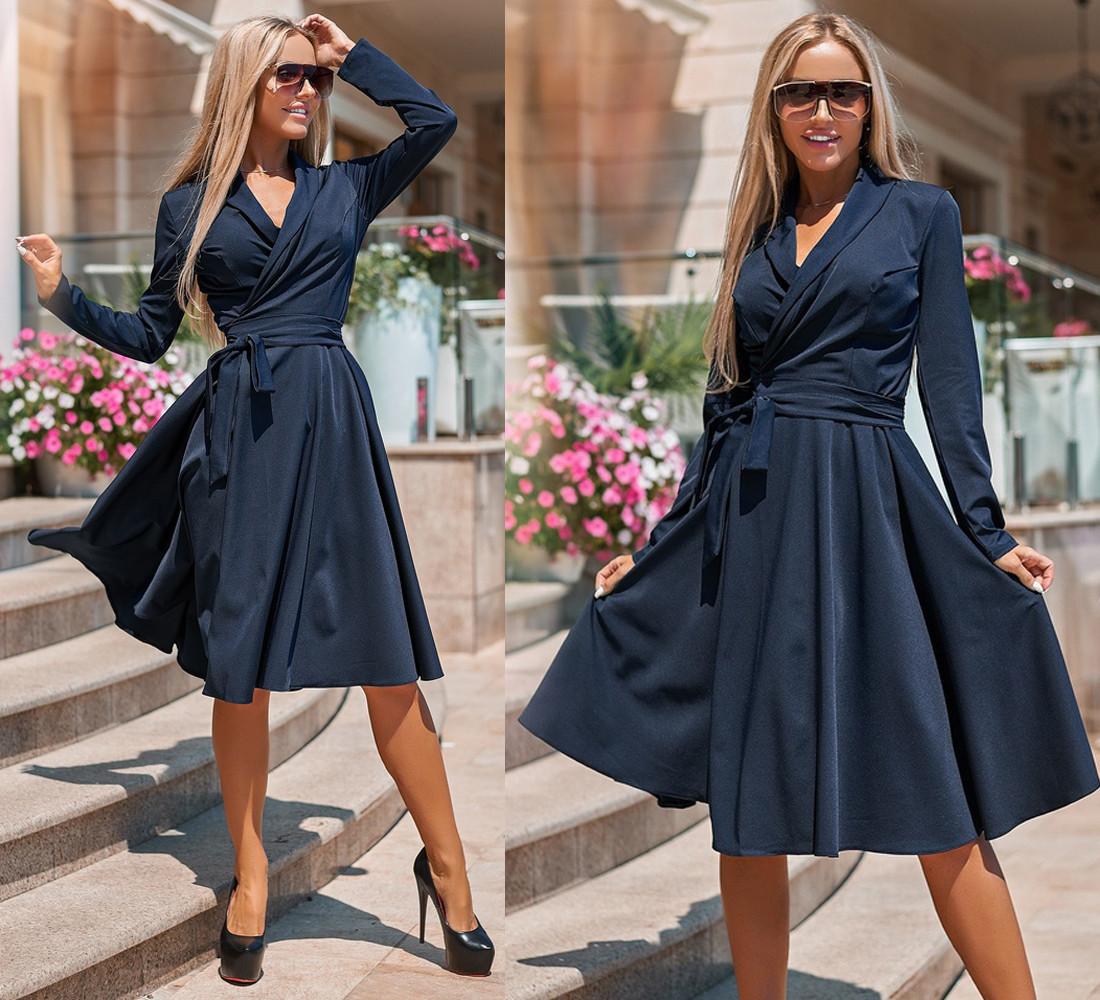 Платье миди, с расклешенной .юбкой, длинный рукав, в комплекте пояс / 3 цвета 416-159