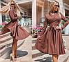 Платье миди, с расклешенной .юбкой, длинный рукав, в комплекте пояс / 3 цвета 416-159, фото 3