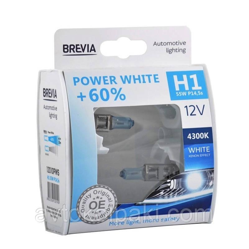 Галогенная авто лампа BREVIA H1 12V 55W P14,5s Power White +60% 4300K S2