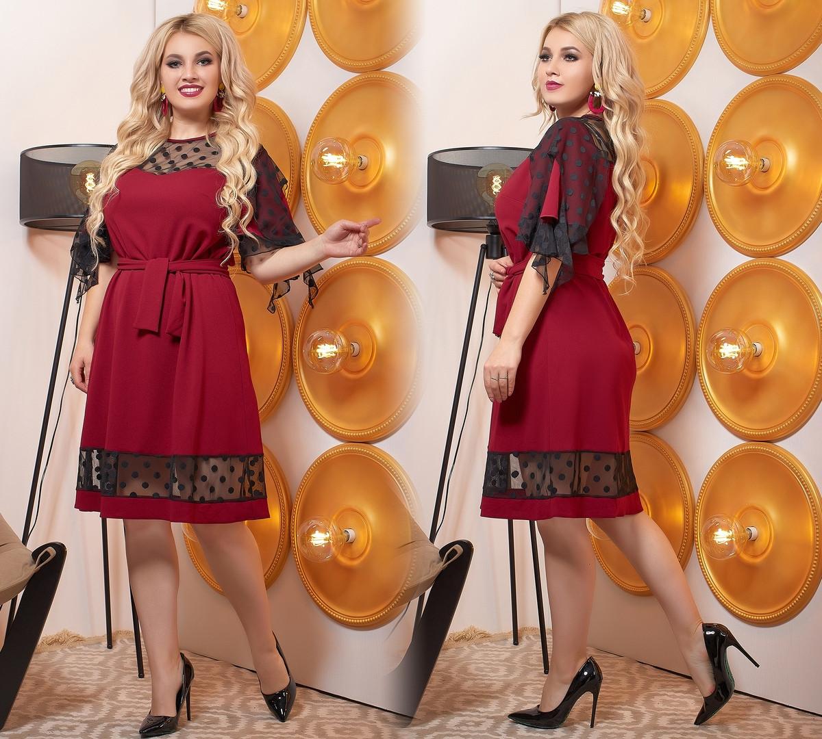 Платье  больших размеров от 50 до 60,  отделка сетка в горошек / 3 цвета 443-610