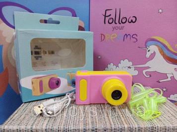 Детский фотоаппарат цифровая розово желтая digital camera