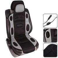 Накидка на  автомобильное сиденье c подогревом Vitol 1 шт Серая. H 19002 GY/BK (115x49см) с подогр. высокая