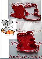 Вырубка с трафаретом мышка на конфете  Форма для пряника 10 см можно др.размер и  форму