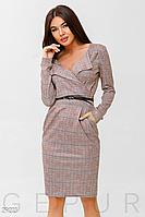Демисезонное платье на каждый день до колен с v-образным вырезом цвет розовый