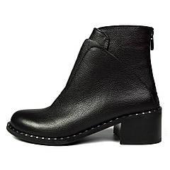 Черные осенние женские кожаные ботинки LONZA на толстом каблуке