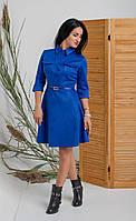 Замшевое женское платье цвета электрик с рубашечным воротников