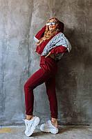 Женский бордовый  костюм на флисе со свитером оверсайз, фото 1