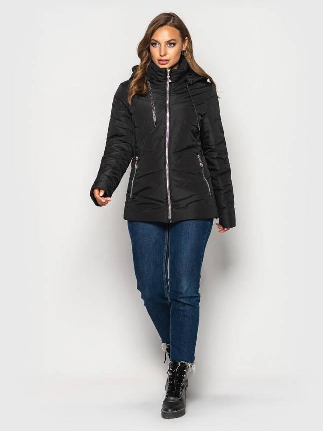 Женская демисезонная куртка больших размеров черная, фото 2
