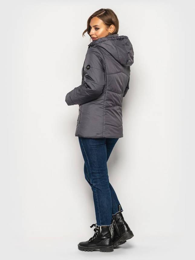 Женская демисезонная куртка больших размеров серая, фото 2