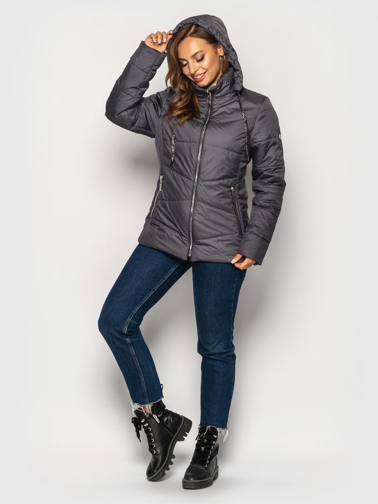 Женская демисезонная куртка больших размеров серая
