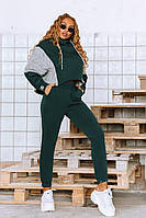 Модный спортивный женский костюм с вязаными вставками, фото 1