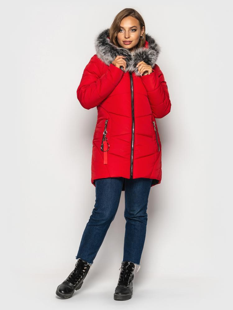 Женская зимняя куртка с натуральным мехом красная