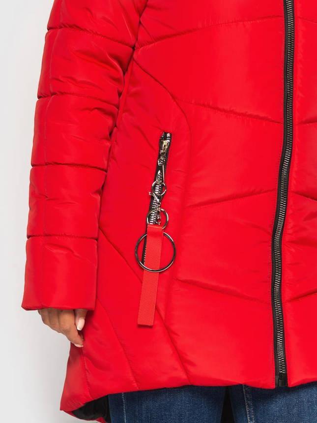 Женская зимняя куртка с натуральным мехом красная, фото 2