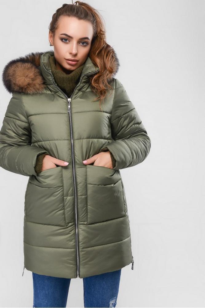Женская зимняя куртка пуховик теплая с мехом