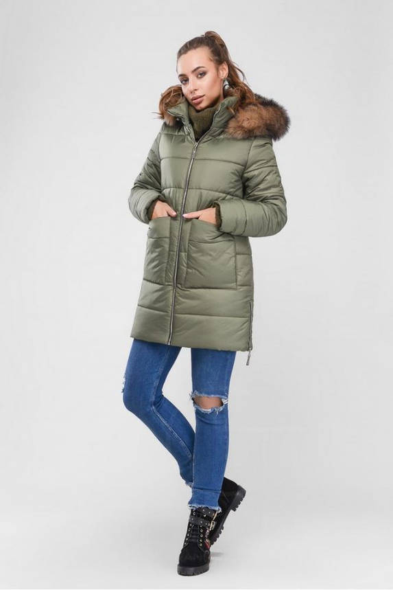 Женская зимняя куртка пуховик теплая с мехом, фото 2
