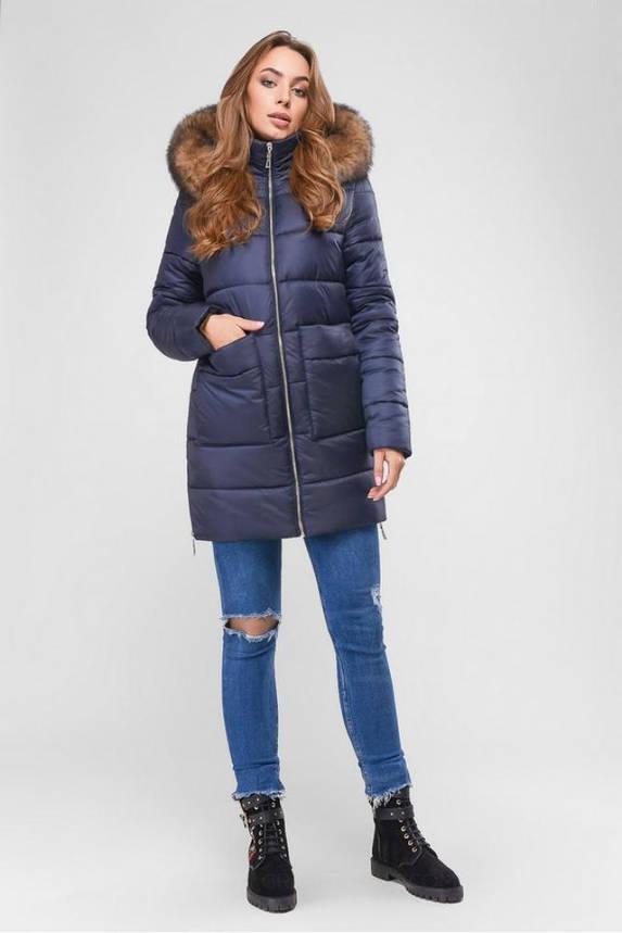 Женская зимняя куртка пуховик теплая с мехом синяя, фото 2