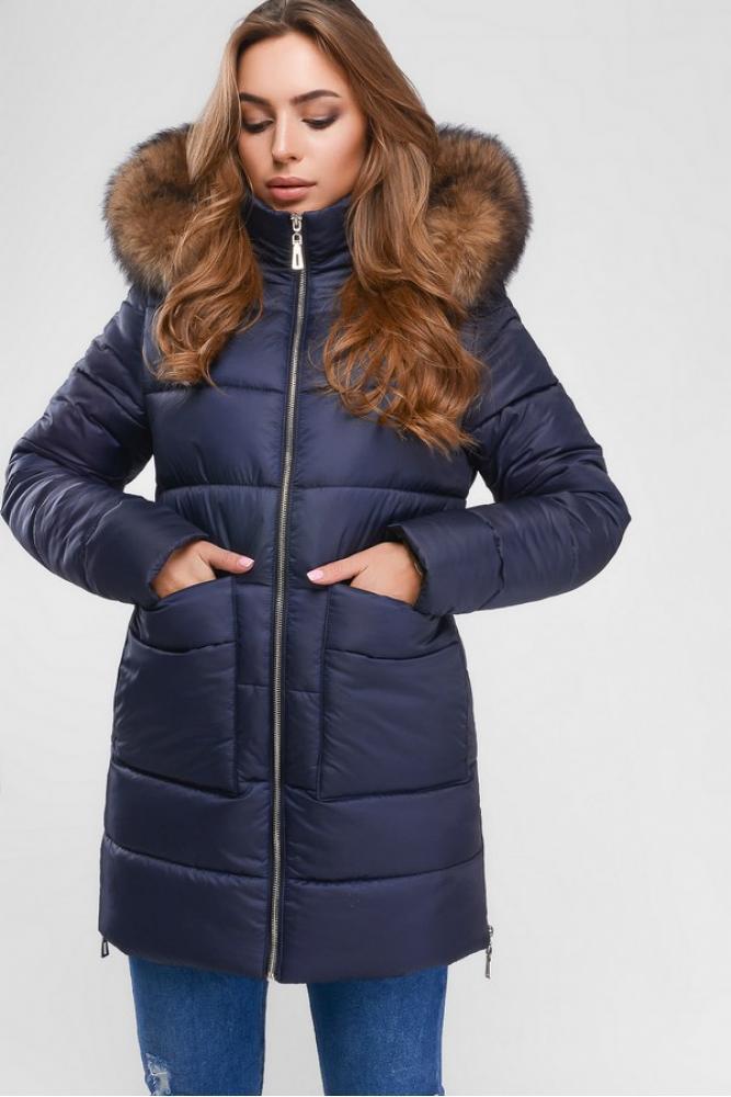 Женская зимняя куртка пуховик теплая с мехом синяя
