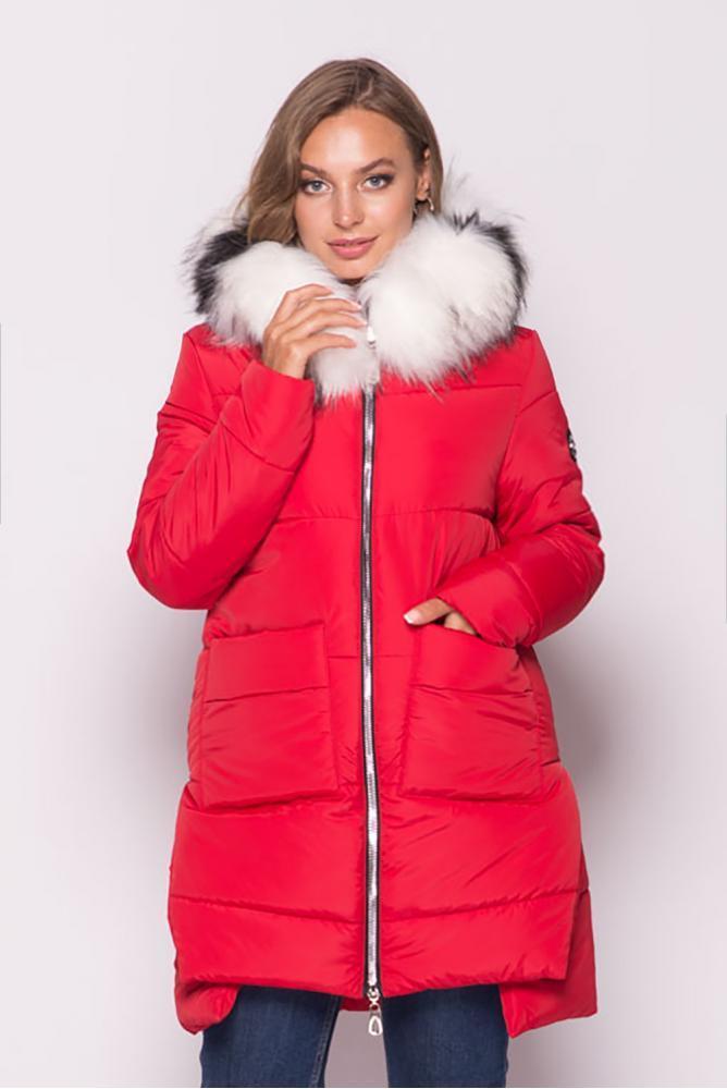 Теплая зимняя куртка пуховик женская с мехом красная