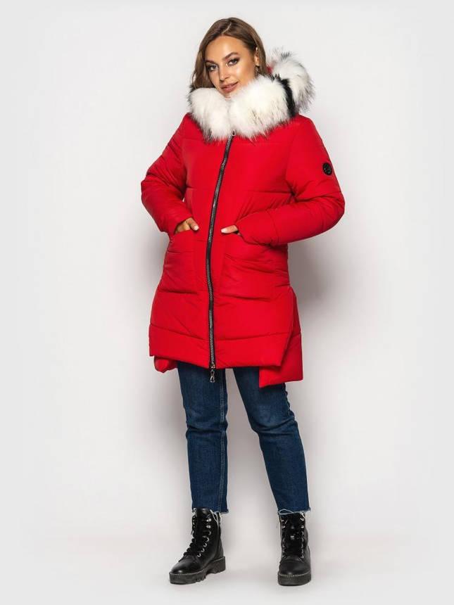 Теплая зимняя куртка пуховик женская с мехом красная, фото 2