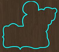 Вырубка Форма для пряника мастики мышка с табличкой разм 12 см можно др.размер