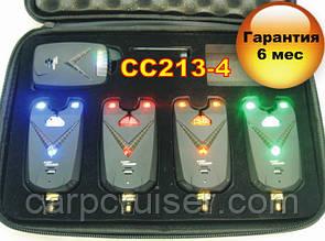 Набор сигнализаторов поклевки CarpСruiser CC213-4 с радио пейджером, анти вор