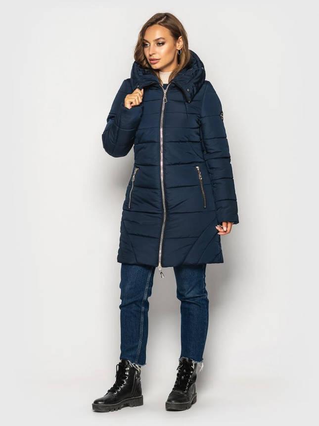 Теплая зимняя куртка женская с мехом больших размеров синяя, фото 2
