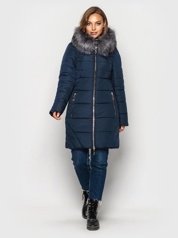 Теплая зимняя куртка женская с мехом больших размеров синяя